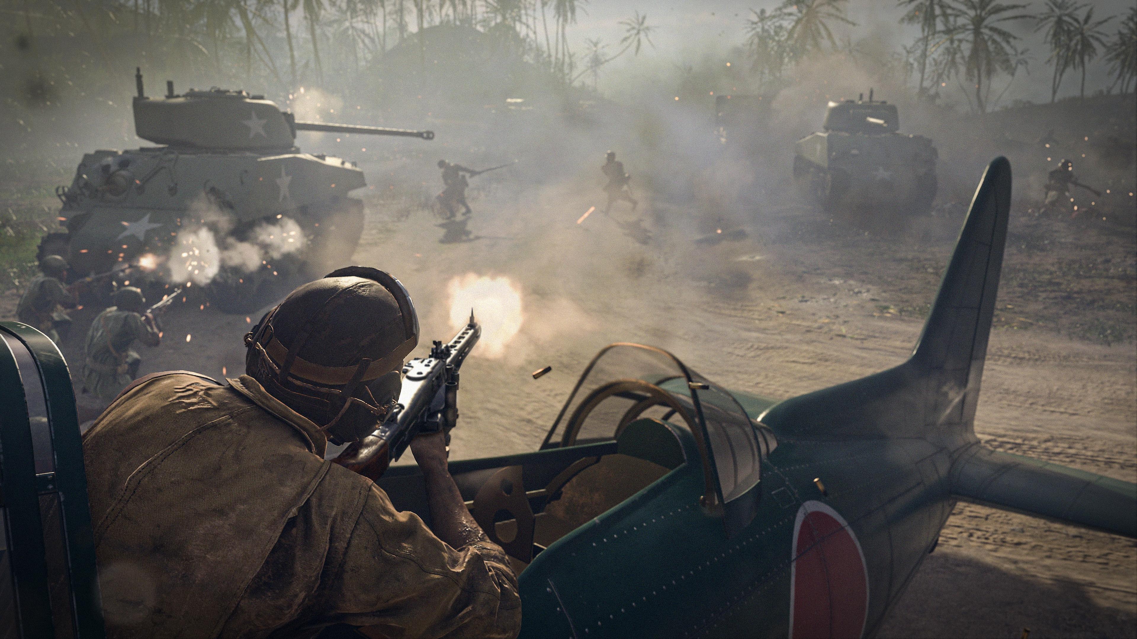 Captura de pantalla de Call of Duty Vanguard que muestra a un soldado disparando desde un avión