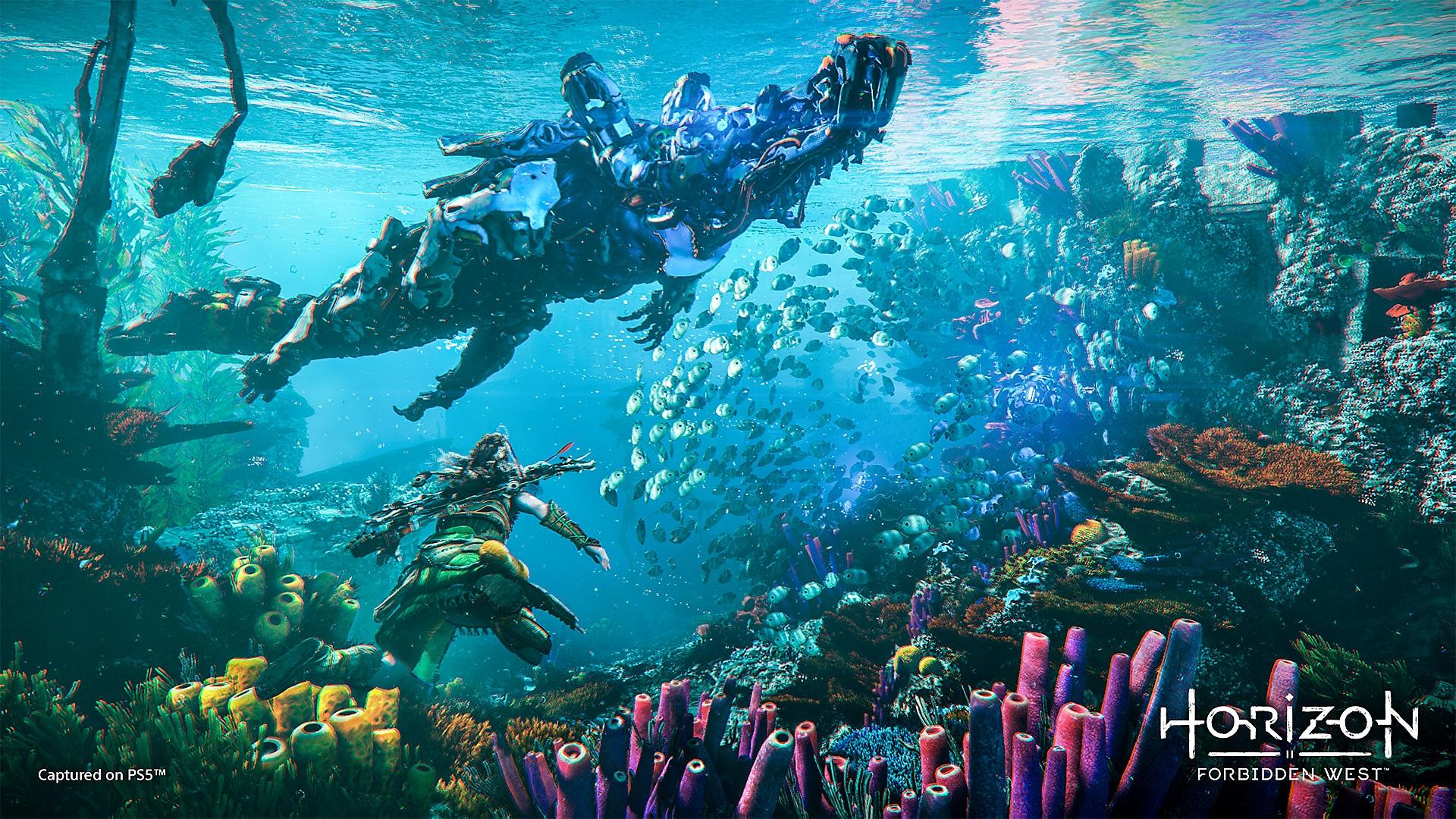 Horizon Forbidden West, Aloy underwater view