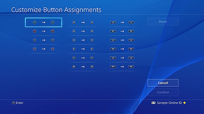 PS4 button assignments