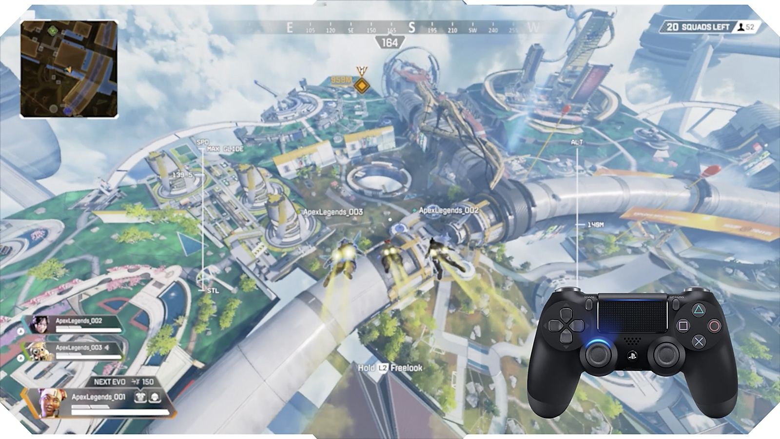 Apex Legends screenshot of Legends dropping into arena