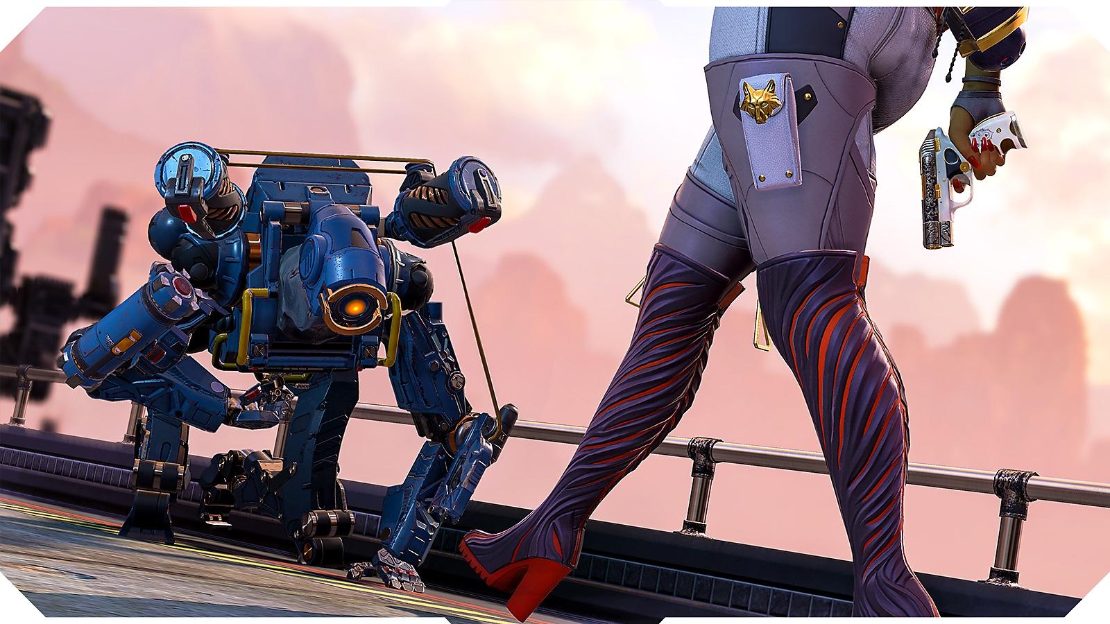 Apex Legends screenshot showing Pathfinder on the floor