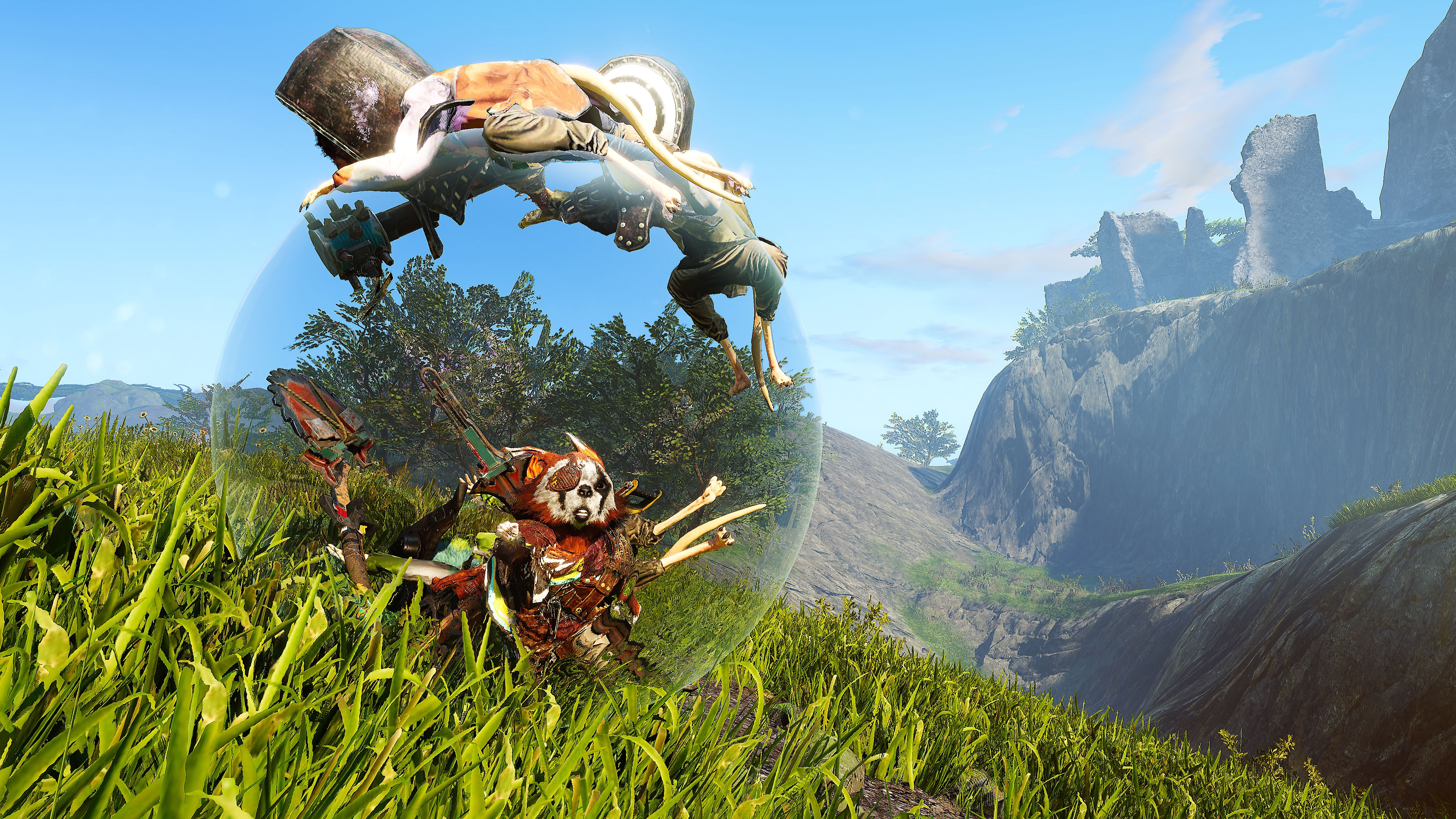 Biomutant screenshot showing a character moving around in a bubble