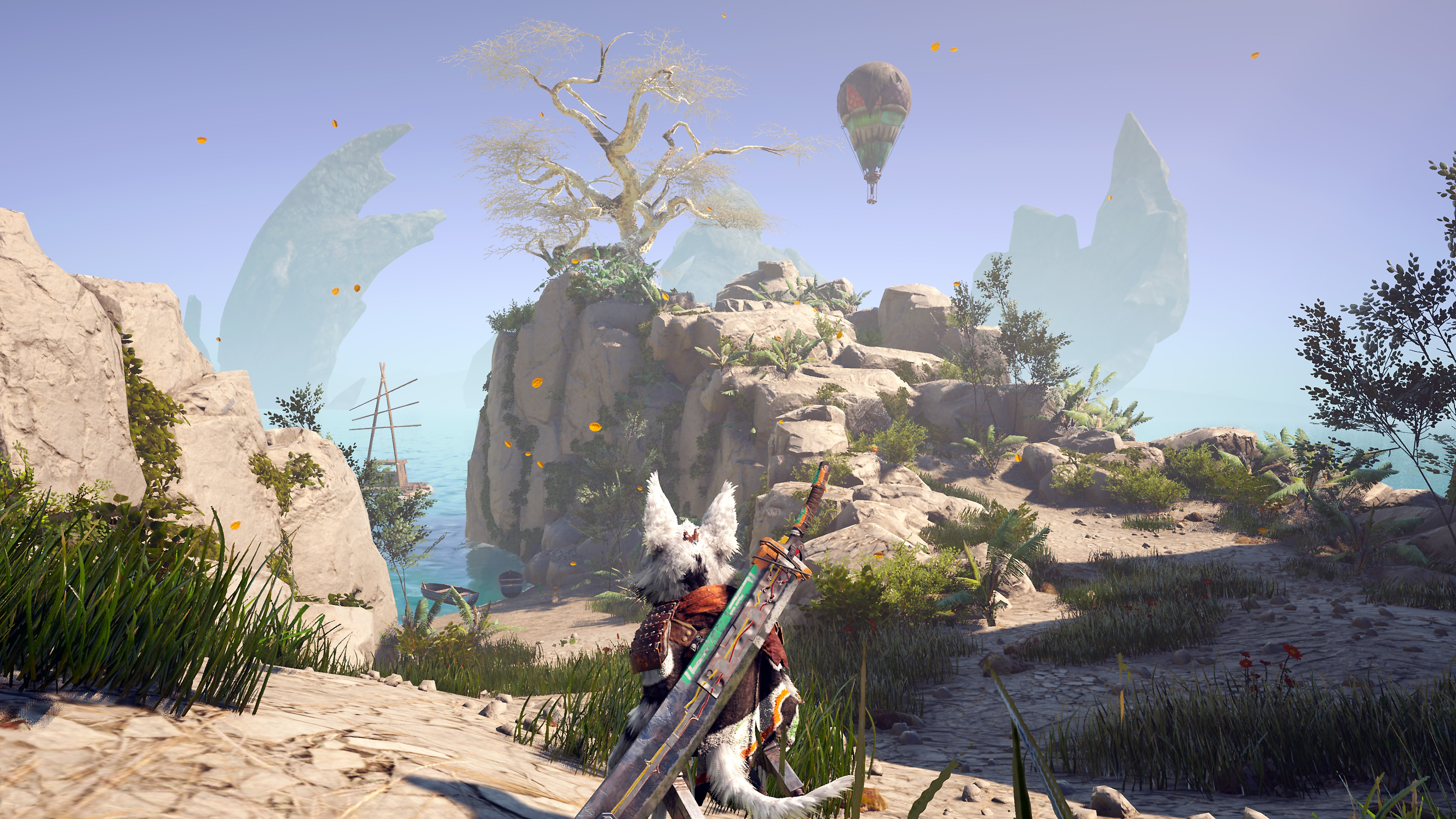 Biomutant screenshot showing the playable character looking out over a cliff and a hot air balloon in the distance