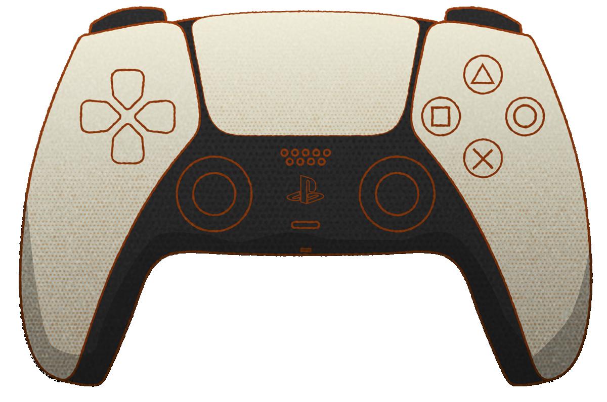 Stylised DualSense controller image