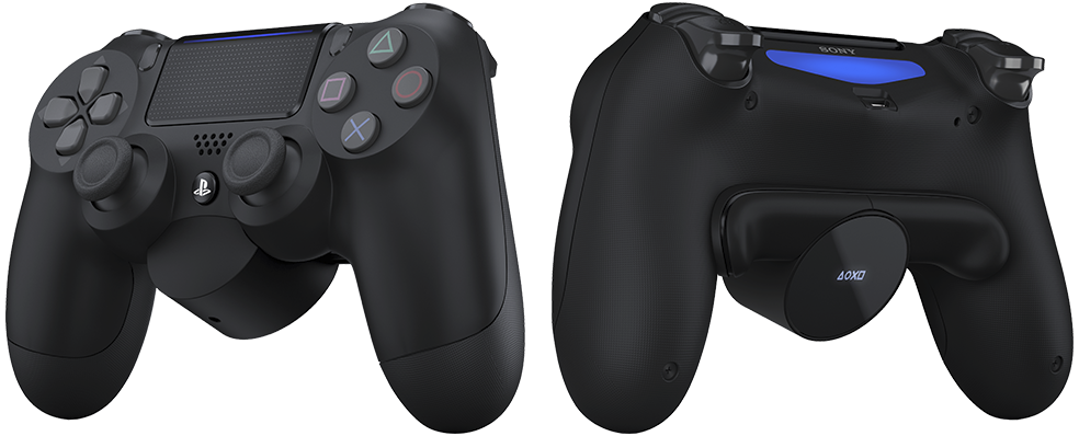 DUALSHOCK 4 with Back Button Attachment front and reverse product image.
