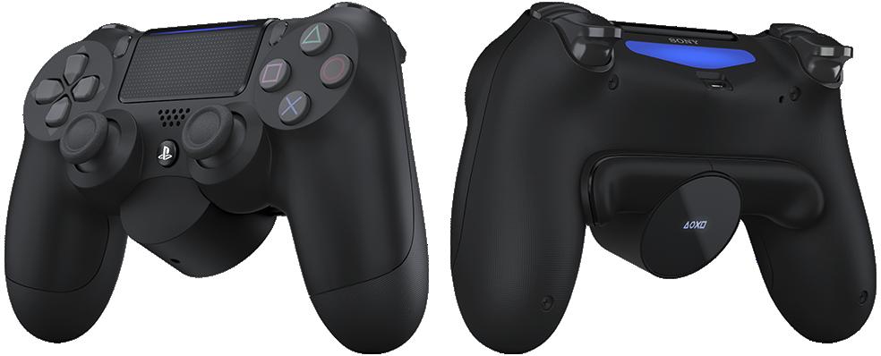 Imagen de producto frontal y trasera de DUALSHOCK 4 con accesorio de botones posteriores.