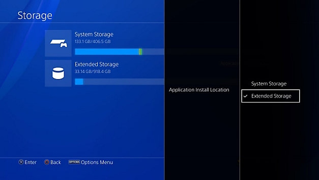 PS4 : emplacement d'installation de l'application