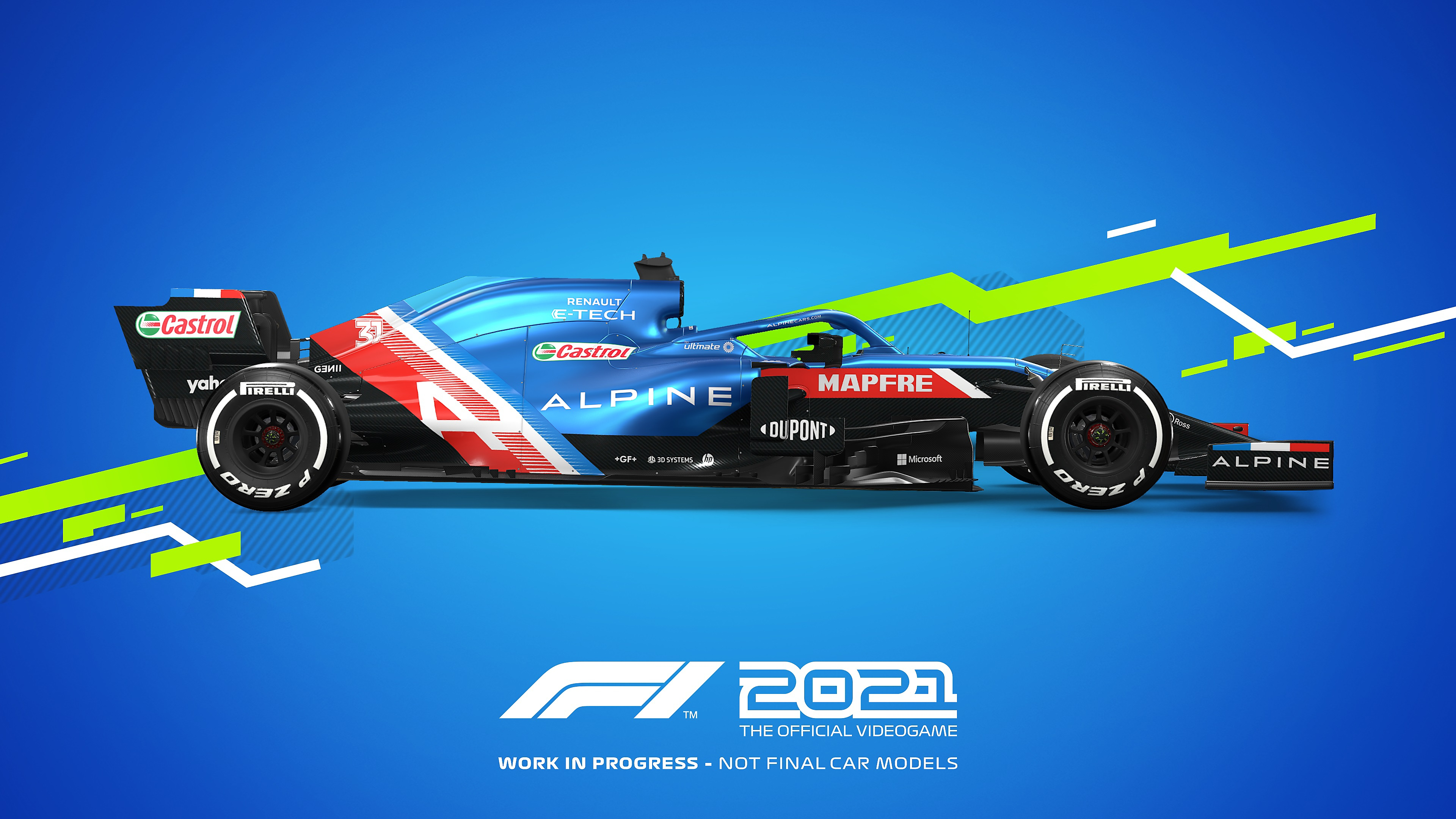 Colores distintivos de autos de juego F1 2021 - Alpine