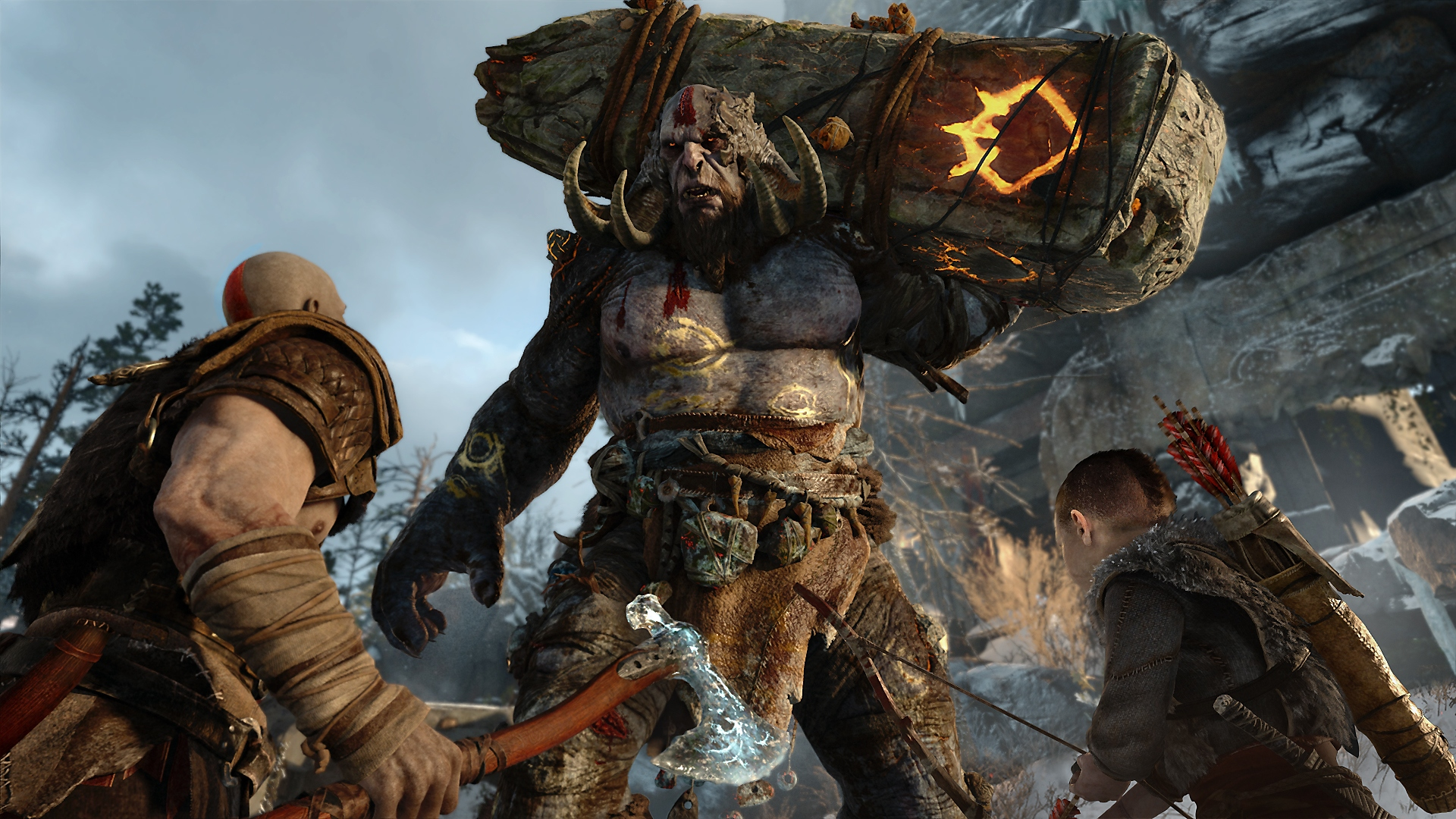God of War – zrzut ekranu Kratosa i Atreusa