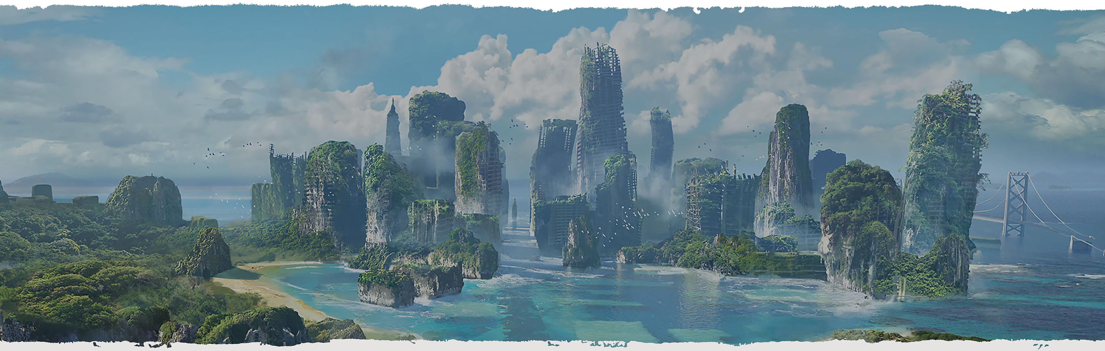horizon community background blue