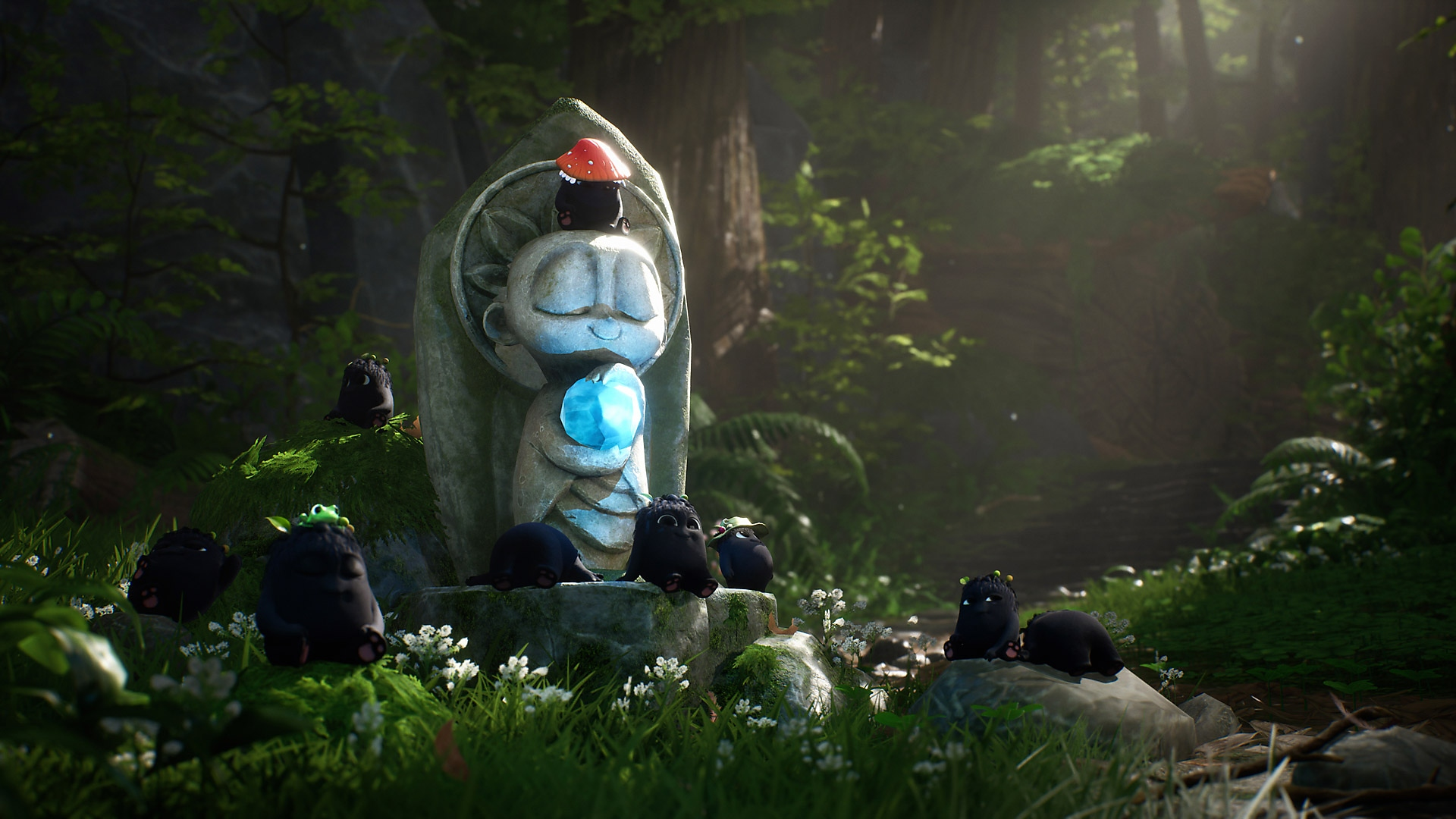 Concept artwork of Rot laying around a stone statue in the forest