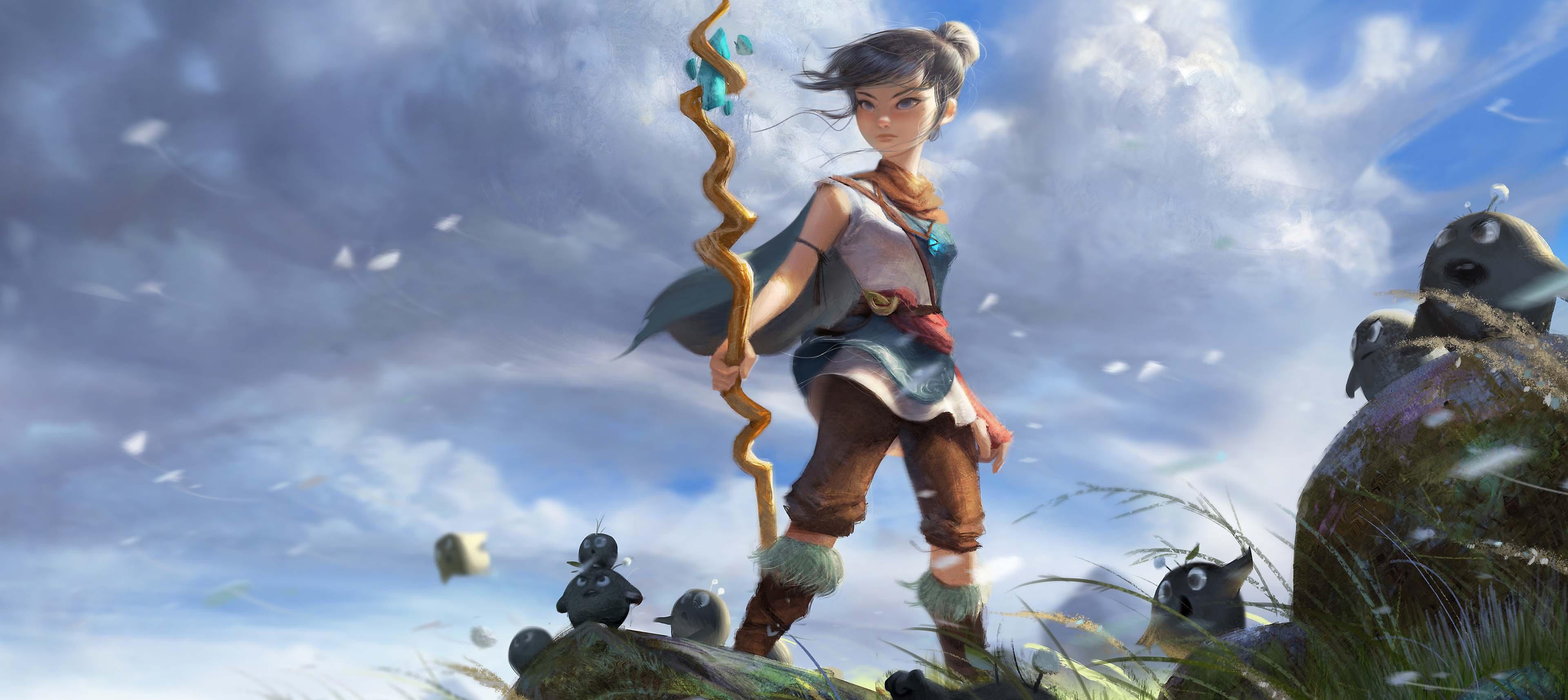 Concept artwork of Kena holding her staff