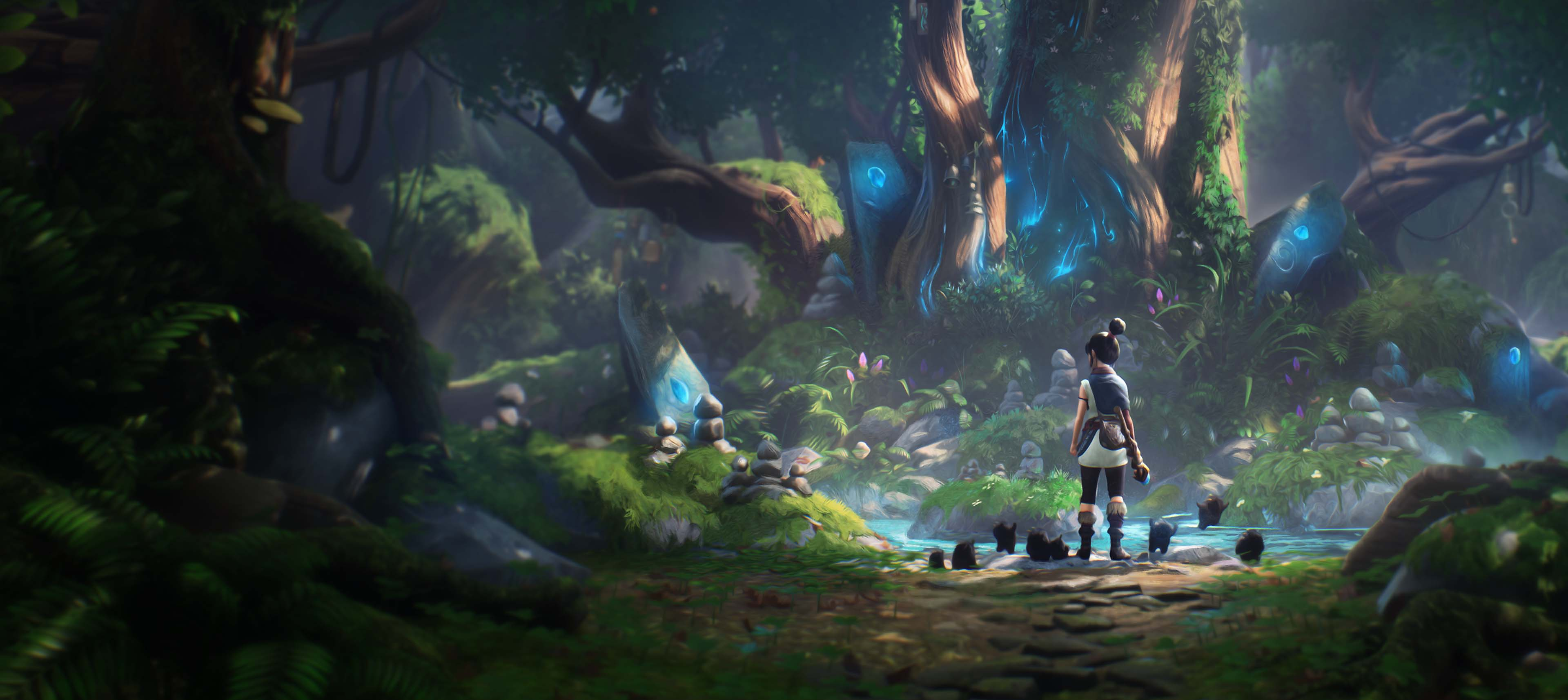 Concept artwork showing Kena and the Rot in front of a large glowing tree