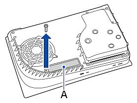 Verwijder de schroef uit het paneel van de uitbreidingssleuf, naast de ventilator.