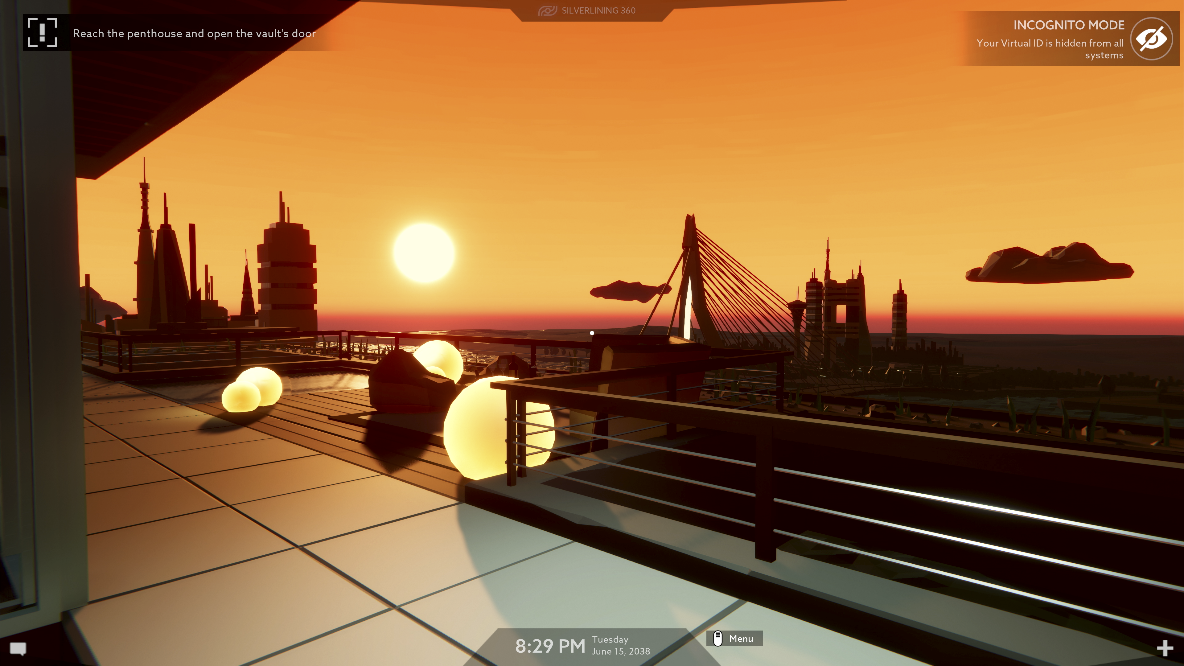 Operation Tango screenshot - Orange sunset over a cityscape