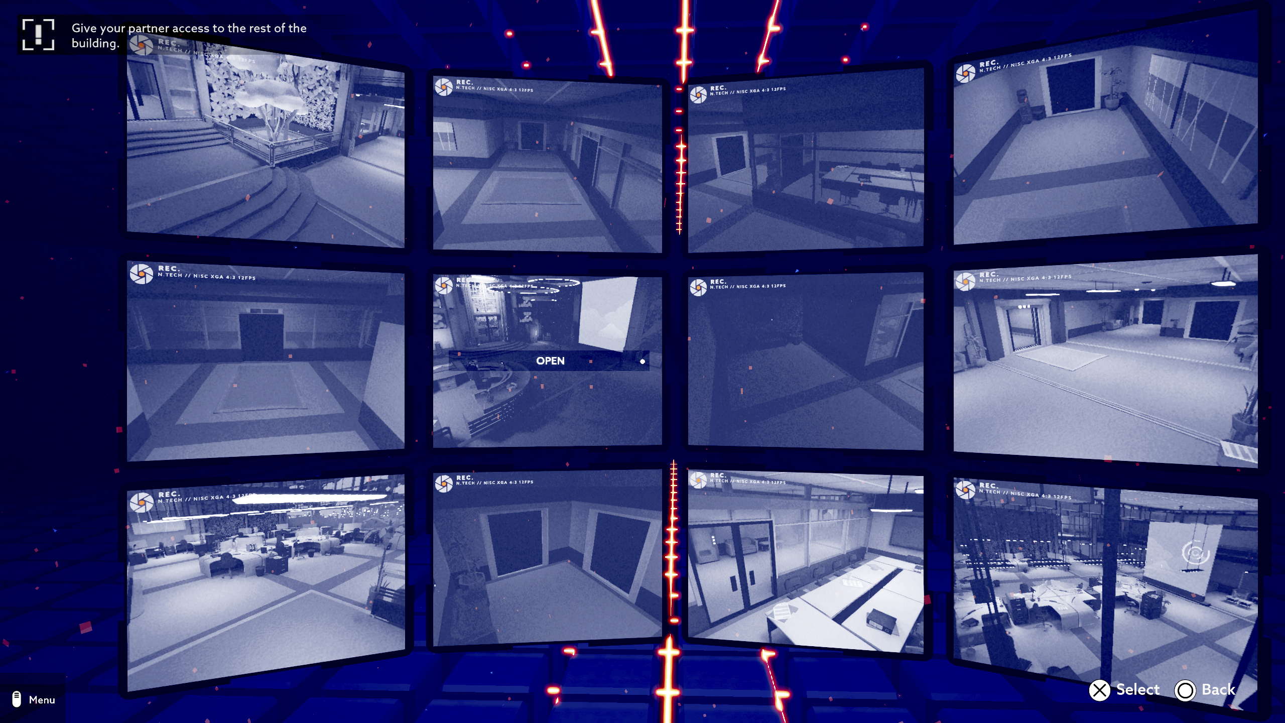 Operation Tango screenshot - a bank of security camera screens showing different locations