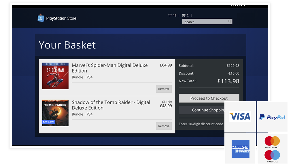 PlayStation Store - Imagen de métodos de pago