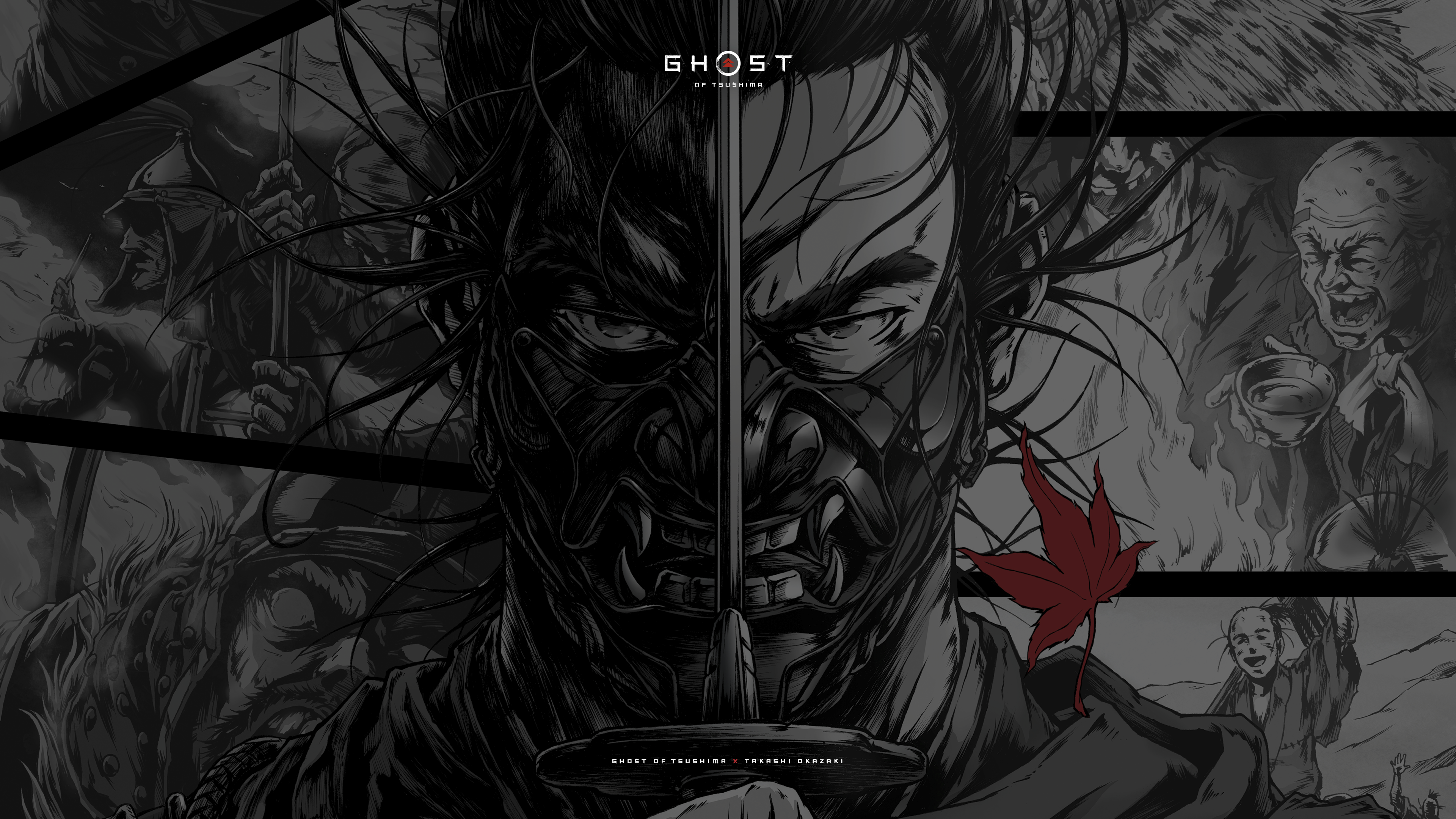 Ghost of Tsushima dark manga desktop wallpaper