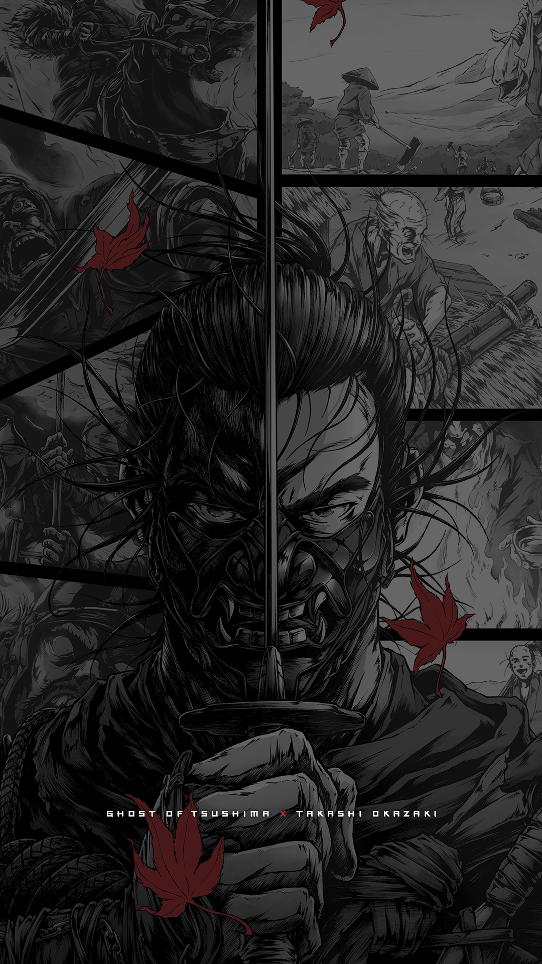 Ghost of Tsushima key dark manga mobile wallpaper
