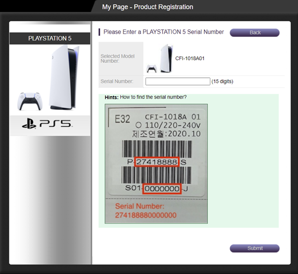 Please Select a playstation5 serial number
