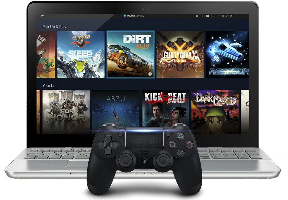 PlayStation Now - laptop and screen