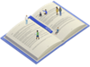 Tiny cartoon people walking on pages of a large open book