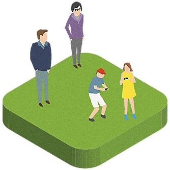 PlayStationのコントローラーで遊ぶ2人の子供を見守る親のイラスト