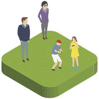 Cartoon illustration of parents looking at their two children playing with PlayStation controllers