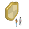 Tiny cartoon people next to a large shield