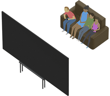 Illustration of people on a sofa with a game controller and watching a large-screen TV
