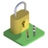 Tiny cartoon people next to a large padlock