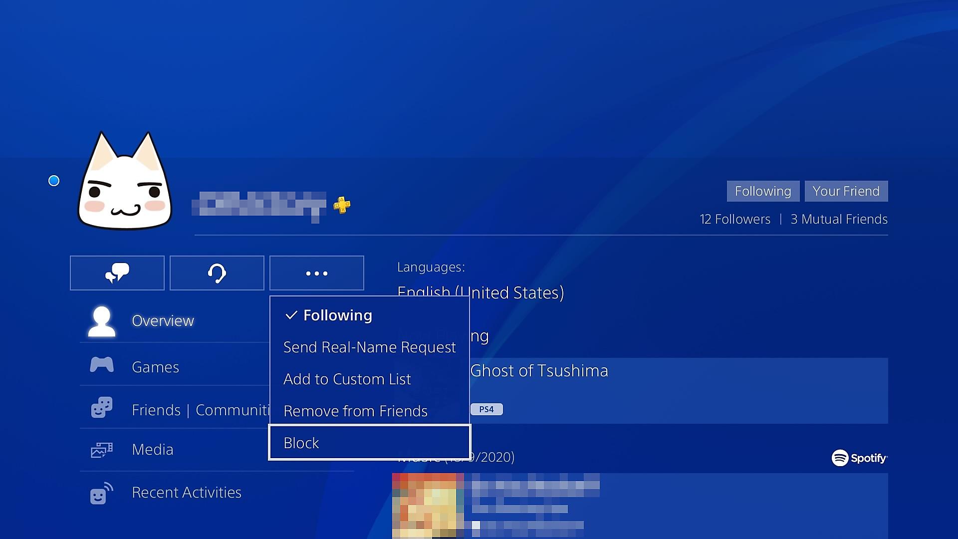 Blokkere en spiller på PS4
