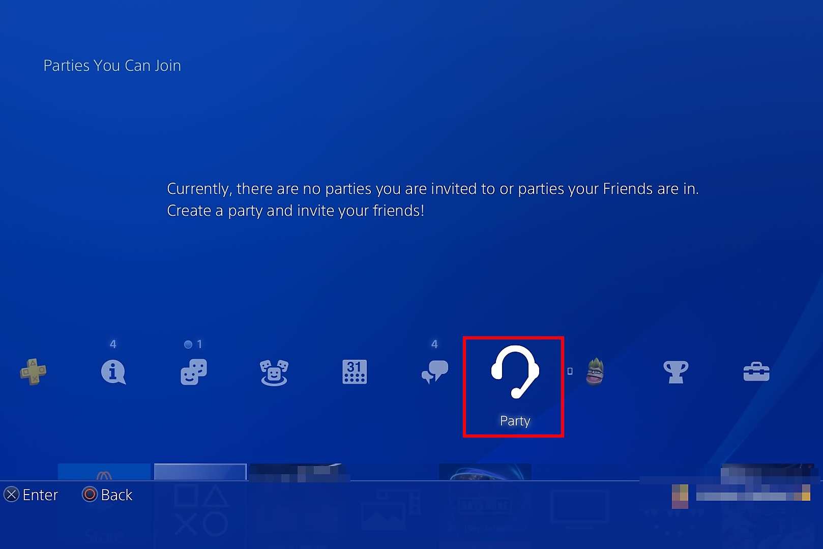 Select Party from the PS4 home screen