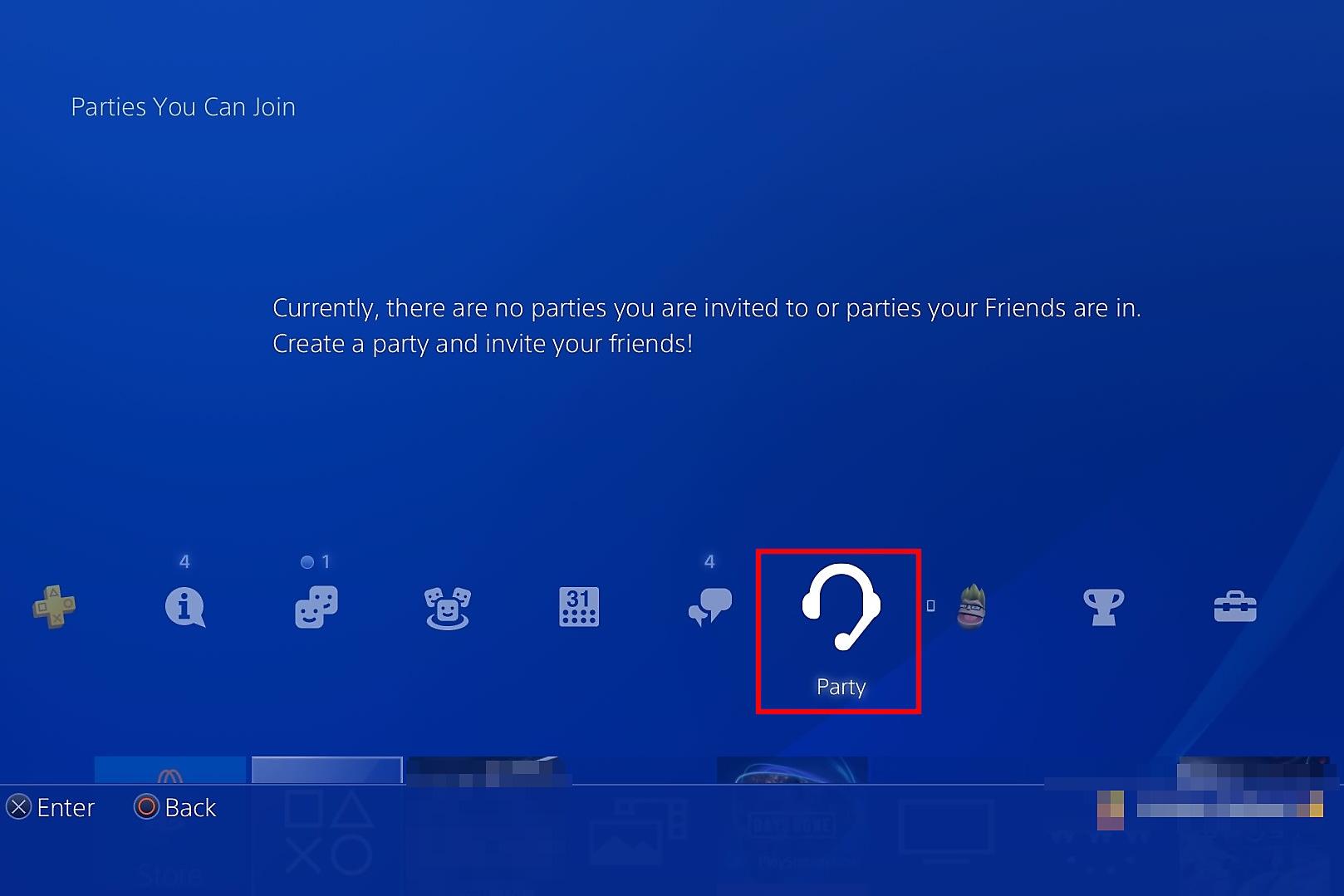 Selecteer Party in het PS4-beginscherm