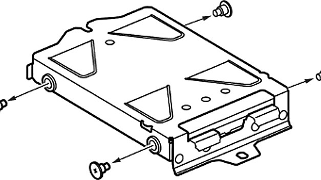 Remove the four screws from the HDD mounting bracket.