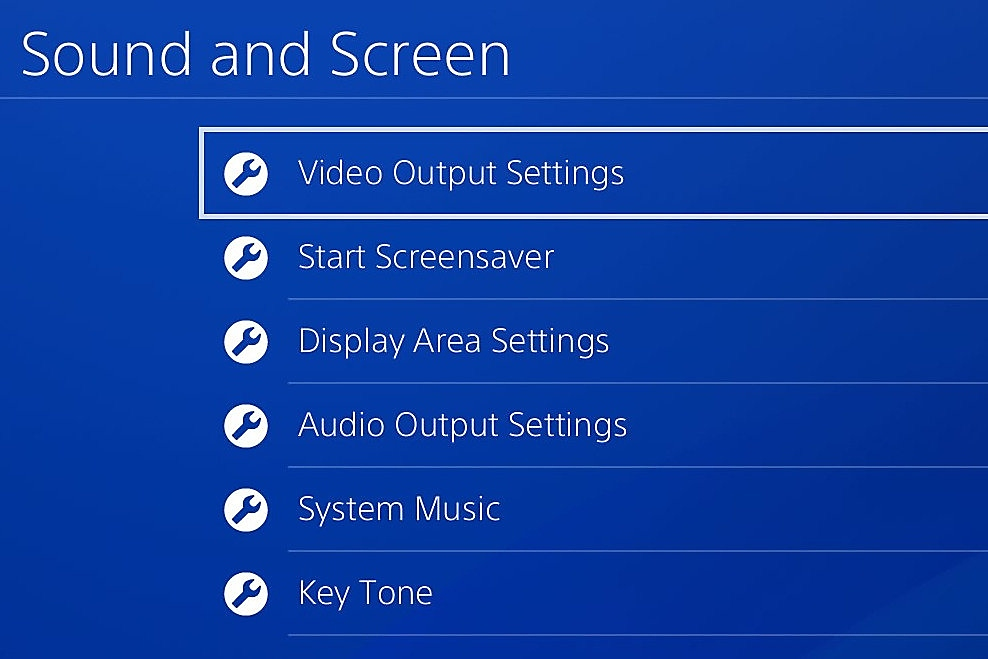 Video output settings on PS4