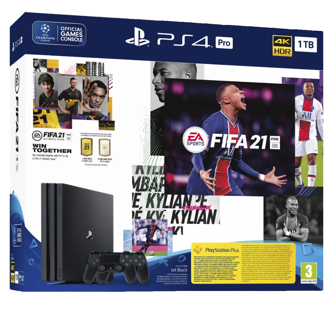 PS4 Pro 1TB + FIFA21 + 2x DS4