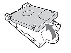 PS4 Slim: Remove the hard disc drive from the mounting bracket.