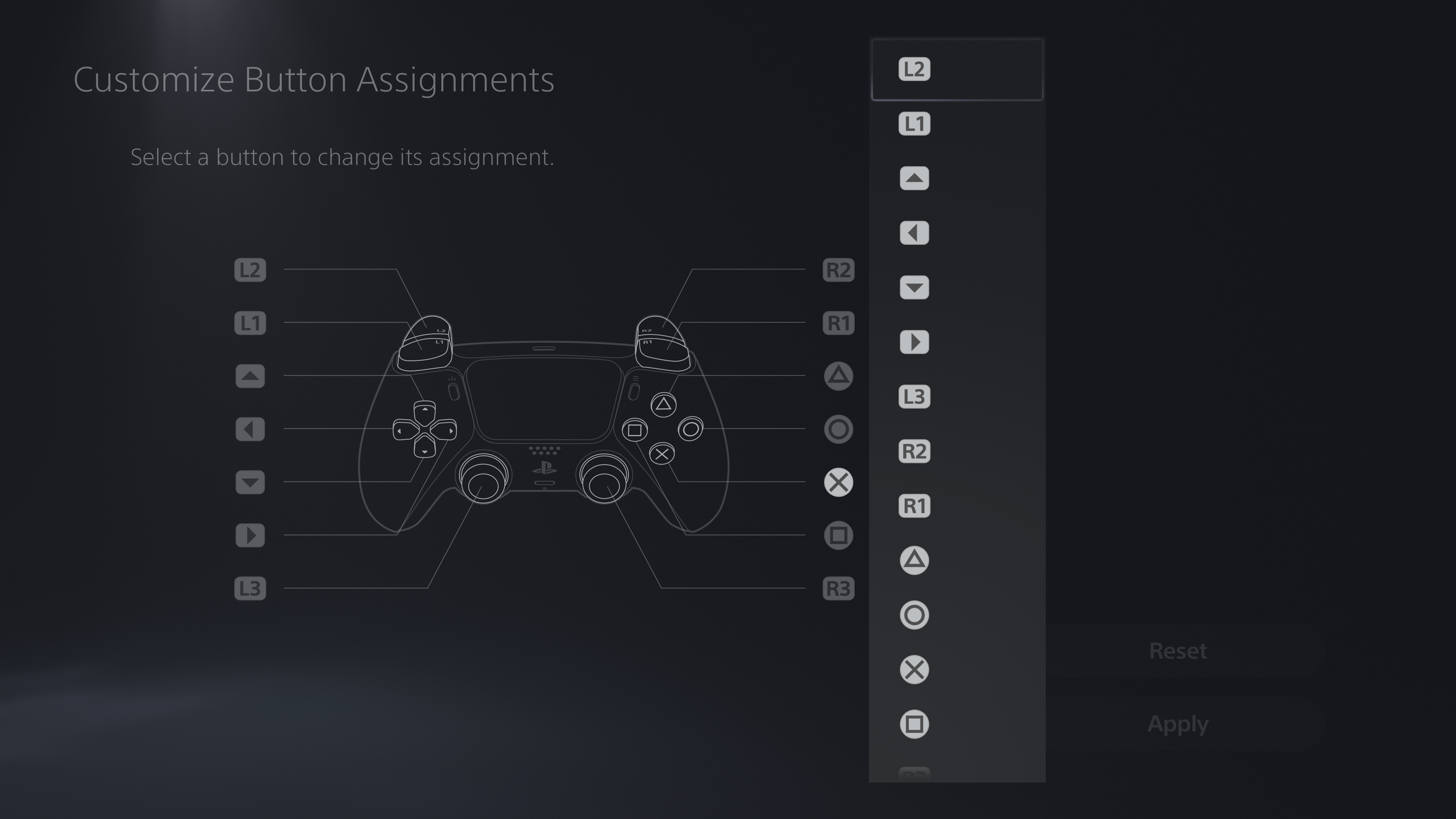 PS5 change button assignments