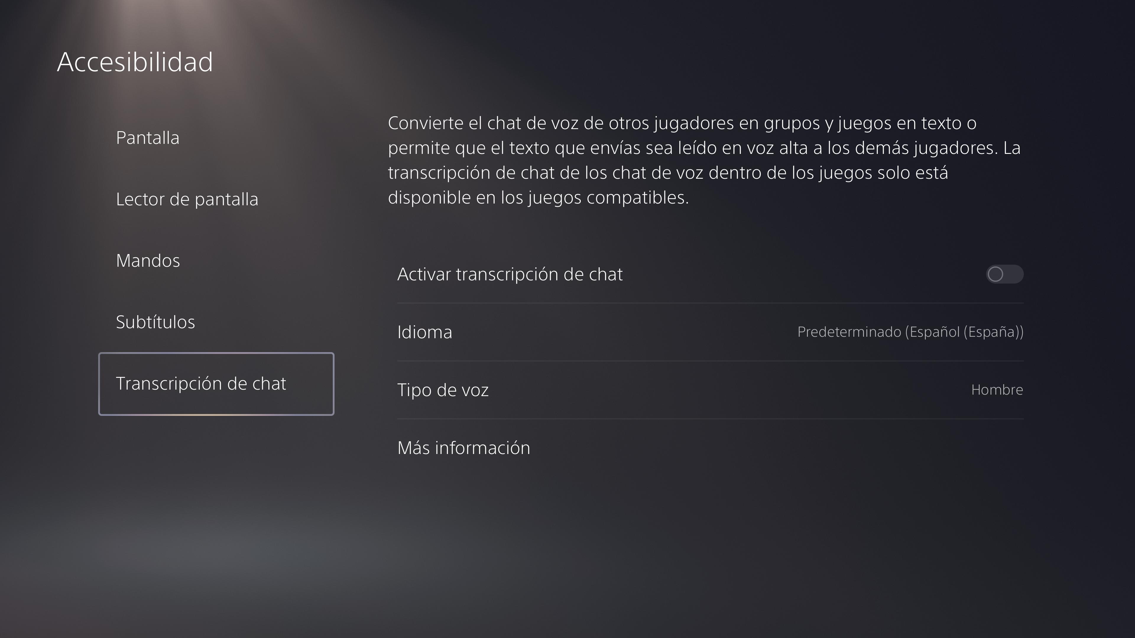 Accesibilidad de PS5: transcripción del chat