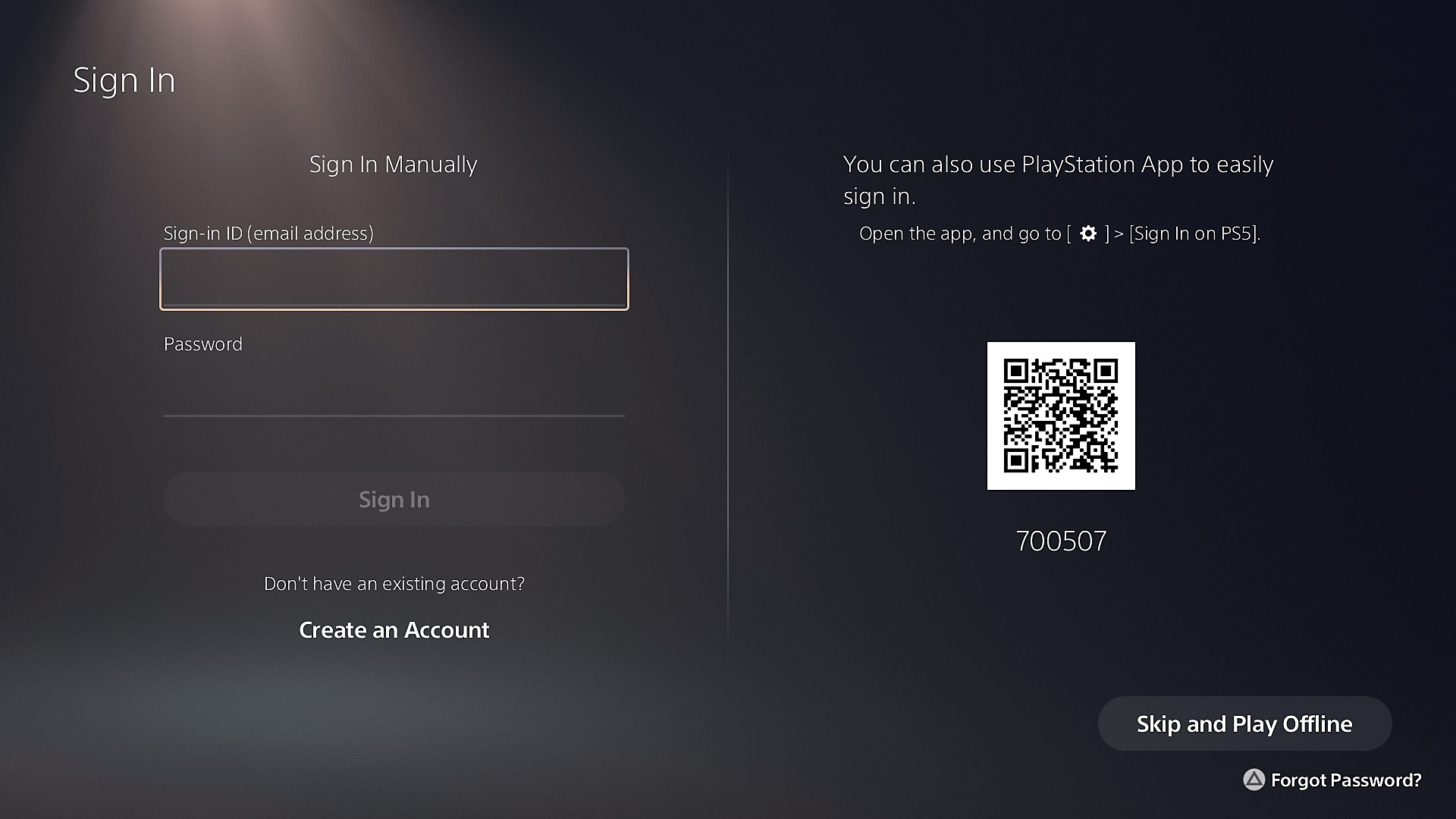 PS5 sign in with PS App QR code