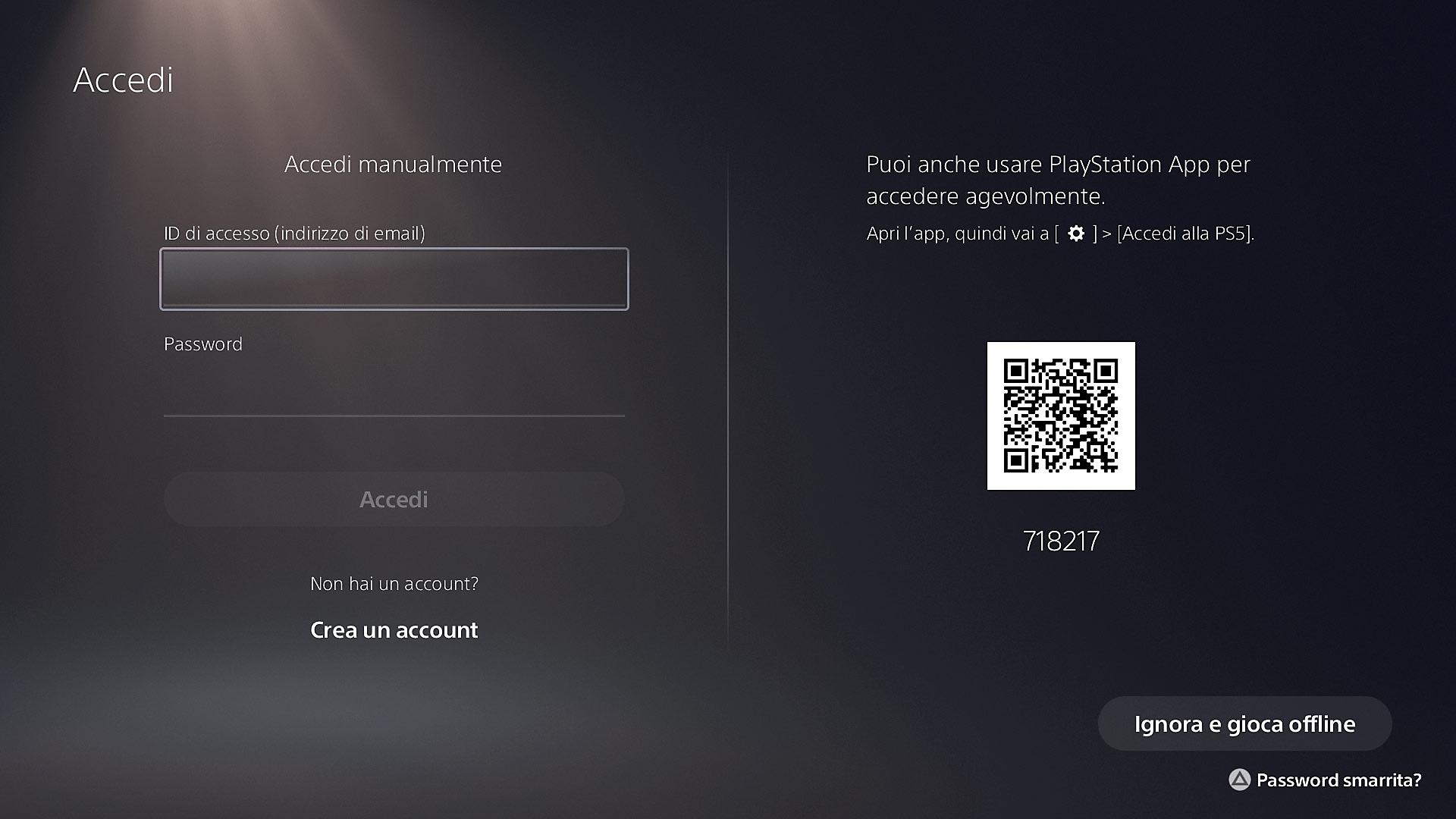 Accedere a PS5 con un codice QR di PS App