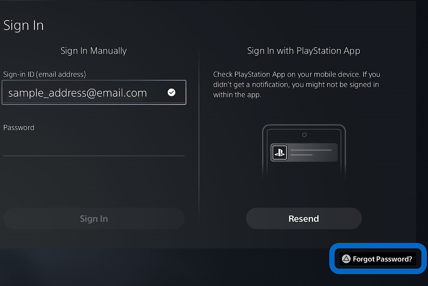 PS5 - reset PSN password