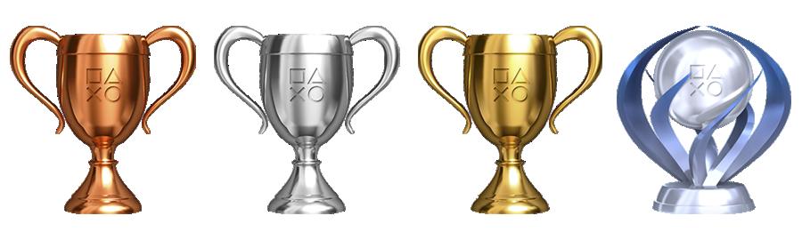 PlayStation-Trophäen-Symbole: Bronze, Silber, Gold und Platin