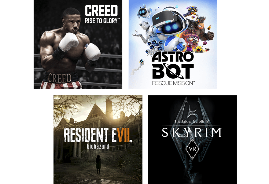 Immagine composta da titoli PS VR - Creed: Rise to Glory, Astro Bot Rescue Mission, Resident Evil 7 e Skyrim VR