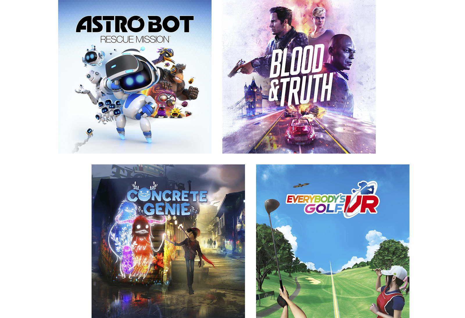 Composite of PS VR titles - Creed: Rise to Glory, Astro Bot Rescue Mission, Resident Evil 7 and Skyrim VR