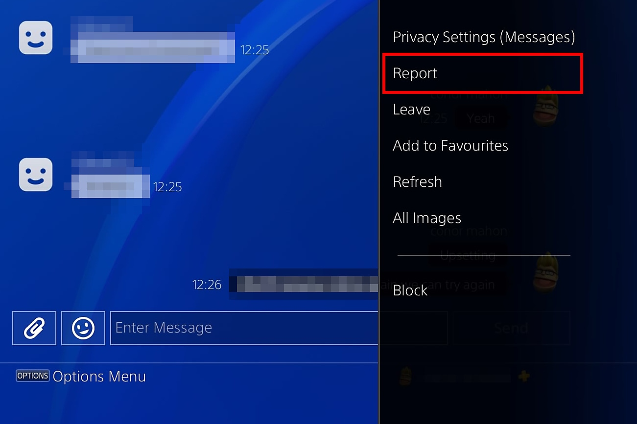PS4 report a message