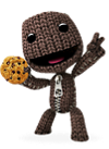 Sackboy holding a cookie