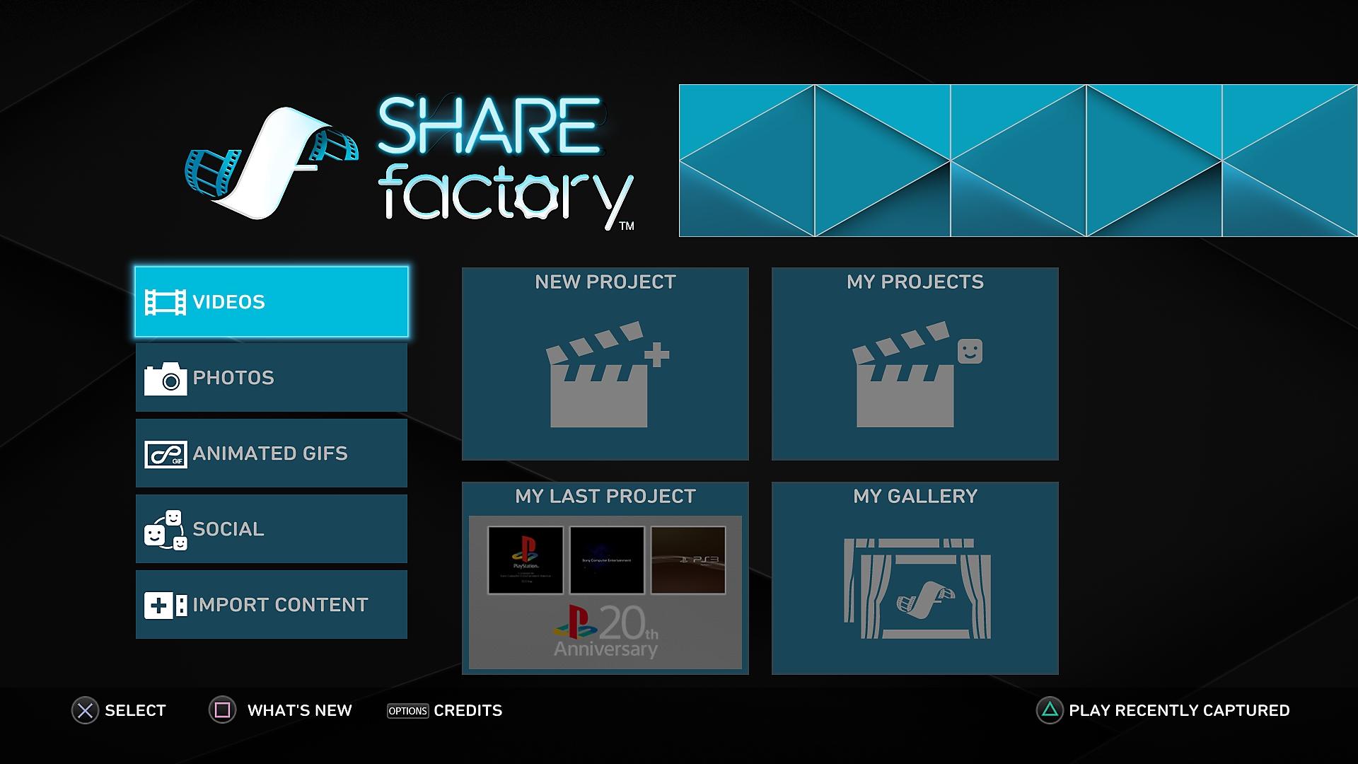 Criar um projeto no PS4 SHAREfactory