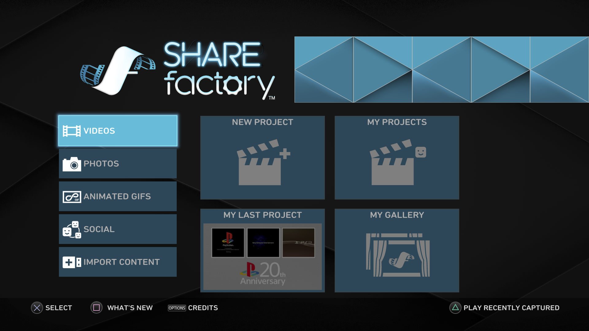Menu di SHAREfactory